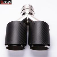1PCS Dual AKRAPOVIC carbon fiber Stainless Steel exhaust tip exhaust pipe muffler Matt Black Exhaust Tip