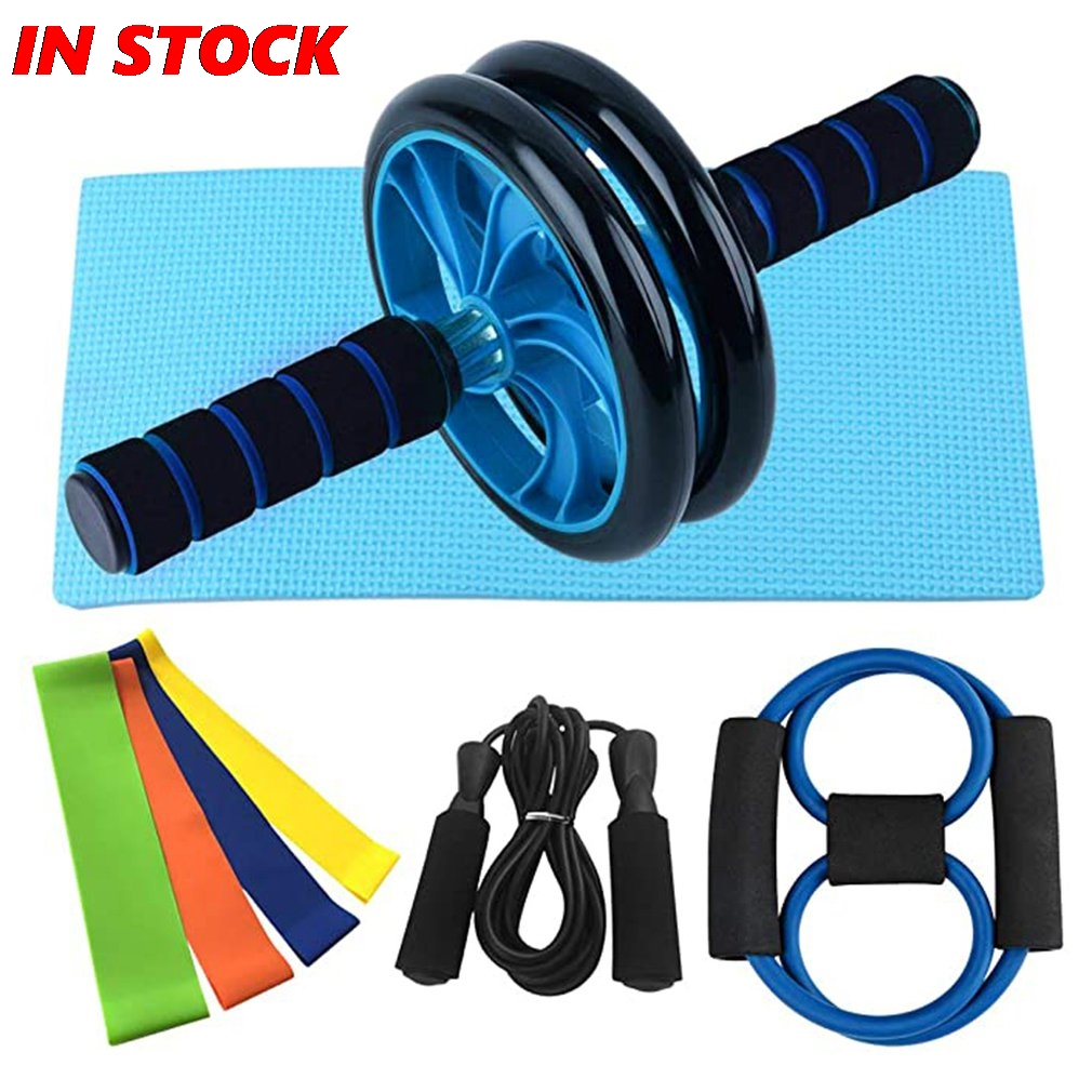 Home Gym Exercise Set Abdominal Roller Wheel 8 Way Resistance Band Resistance Band Loop Band Jump Rope Kit