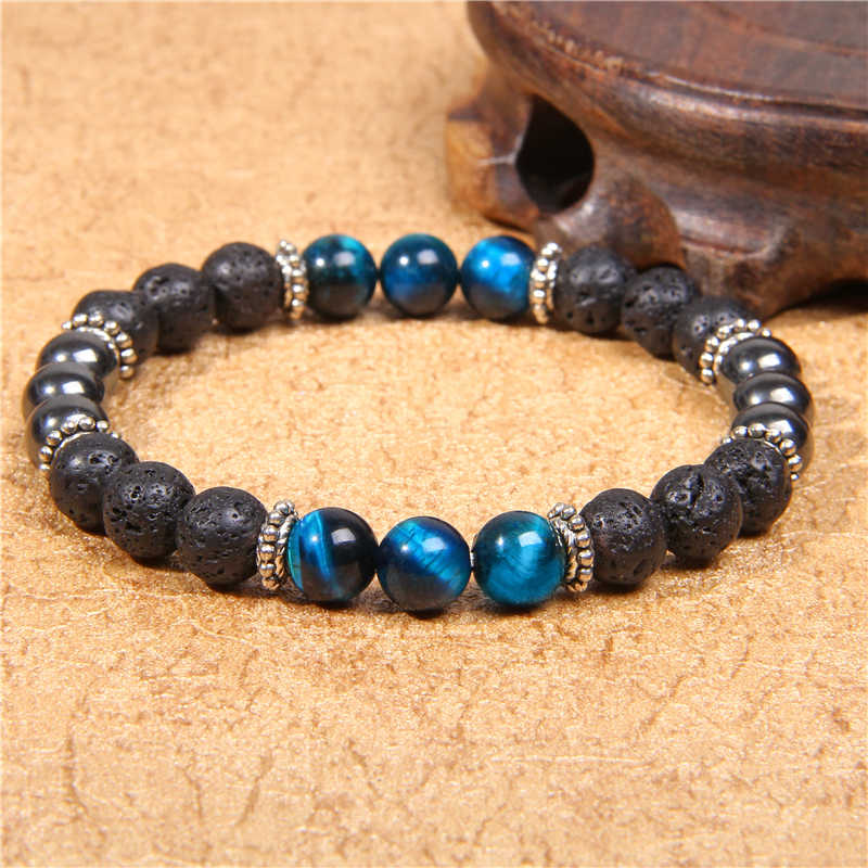 Men Bracelet 8mm Natural Black Lava Stone Bead Round Tiger eye Beads Charm Bracelet Homme Jewelry Boyfriend Gift Pulseras bijoux