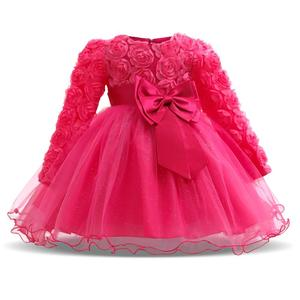 Baby Girl Dress Winter Tutu Dresses For Newborn Baby Wedding Christening Party Wear Toddler Girl 1 Year Birthday Frocks Baptism(China)