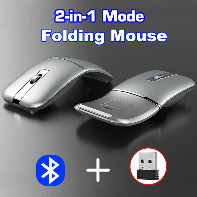 Dual-mode foldable mouse wireless + Bluetooth foldable mouse ergonomic gaming mouse for computer desktop notebook