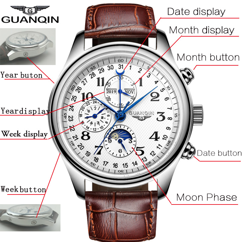 GUANQIN Men Mechanical Watches Leather Luxury Top Brand Waterproof Automatic Wristwatch date Calendar Moon Relogio Masculino - 2