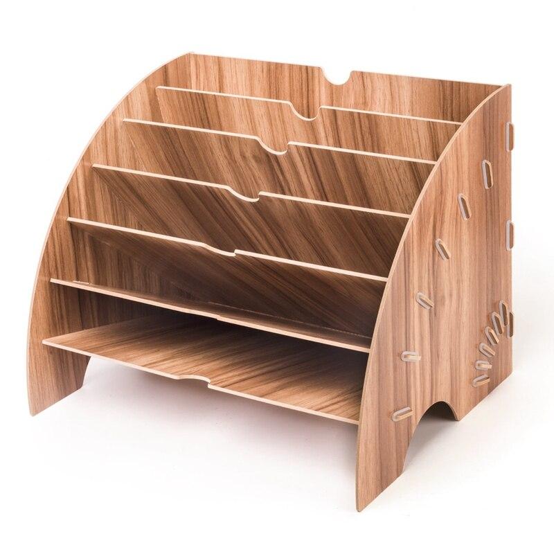 Деревянный органайзер для файлов, офисных настольных канцелярских принадлежностей, расширяющийся стеллаж для наполнения лотка, органайзе...