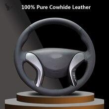 Noir En Cuir Véritable Couverture De Volant De voiture pour Hyundai Elantra 2011 2012 2013 2014 Avante I30