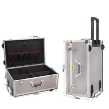 Дорожный большой алюминиевый чемодан на колесиках