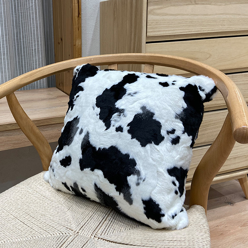Черно-белая корова удлиненном плюше; Пушистая подушка для дома декоративная диван-кровать автомобиль диванные подушки Полиэстеровая накид...