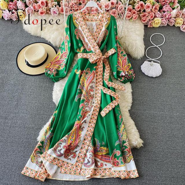 Elegant Dress Court Style Retro Fashion Outwear Printing Bubble Sleeve Temperament Fashion Dress Women V-neck Hit Color Vestidos 1