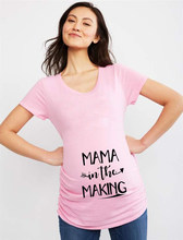 Mama In The Making Pregnancy Tshirt Women Short Sleeve Pregnant Maternity Cute Letter Print T-Shirt Tops Ropa Casual Wear(China)