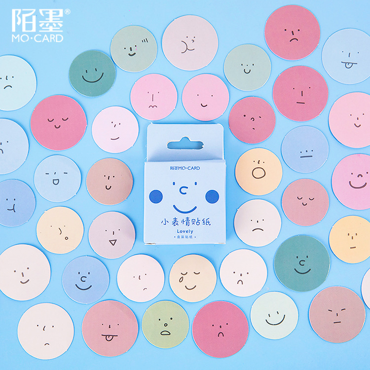 45 Pcs/lot Small Expression Series Cute Boxed Round Decoration Stickers Planner Scrapbooking Stationery Japanese Diary Stickers