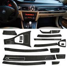 Dwcx adesivo de fibra de carbono para bmw, adesivo em vinil preto e branco para interior automotivo de bmw 3 séries e90 2005 2006 2007 2008 2009 2010 2011 2012 2013