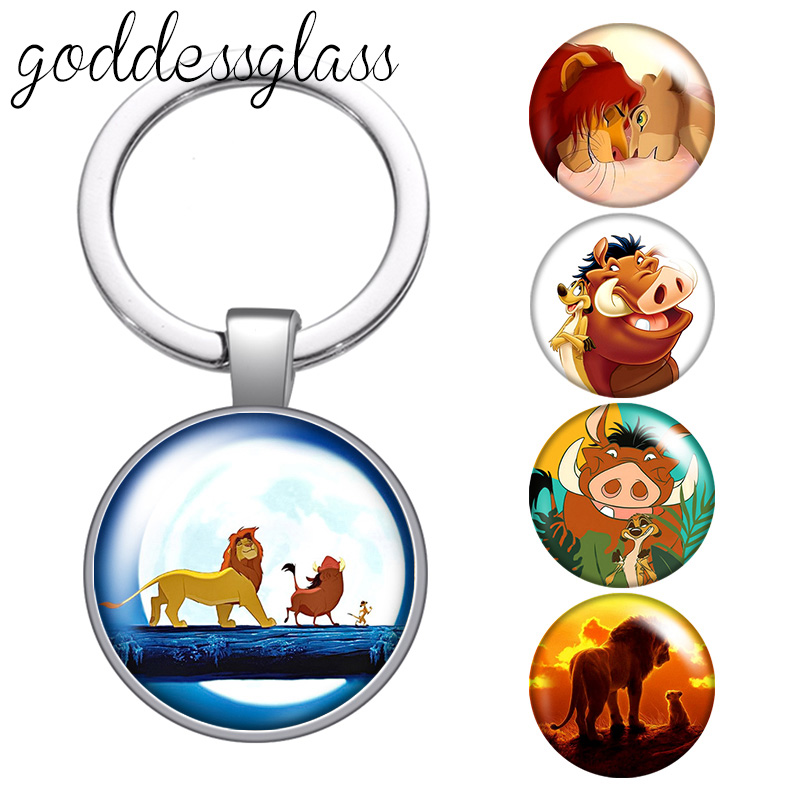 Disney The Lion King Cute Simba Timon Pumbaa glass cabochon keychain Bag Car key chain Ring Holder Charms keychains gift