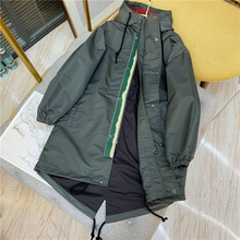 Women Trench 2019 New Style Hooded Drawstring Women Long Jacket