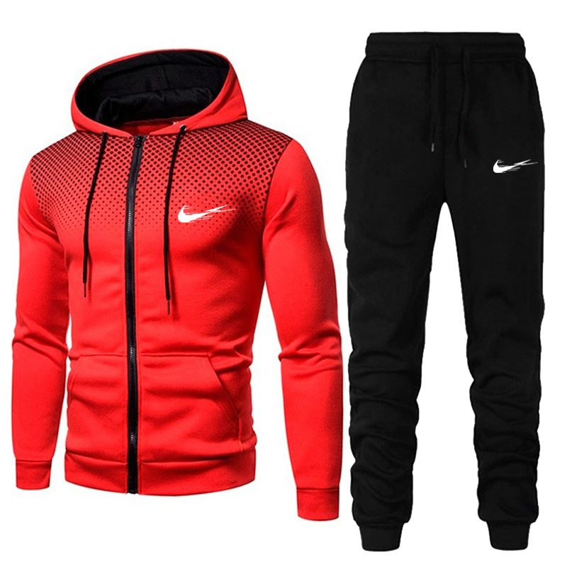 2 pieces/set of men's sportswear suit 2020 autumn and winter men's hooded sportswear men's fashion sweatshirt + sweatpants suit
