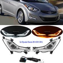 1 zestaw LED reflektor DRL dla Hyundai Elantra 2014 2015 2016 światła przeciwmgielne lampa do jazdy przedniego zderzaka z żółtym kierunkowskaz