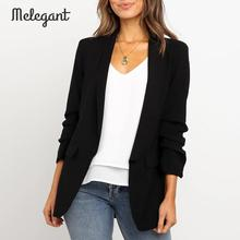 Melegant Autumn Winter 2019 Pink Blazer Coat Women High Fashion Casual Solid Blazers Coats Elegant Ladies Blazer