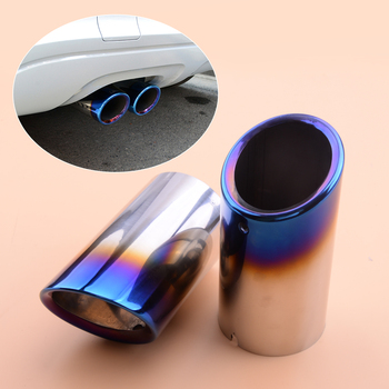 2pcs Stainless Steel Grilled Blue Muffler Exhaust Tail Pipe Tip Fit For BMW 3 Series E90 E92 325i 328i image