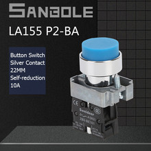 22mm Push Button Switch XB2 High Head Round Momentary Reset Start-Stop Electrical Power Switches 10A 600V Silver Contact