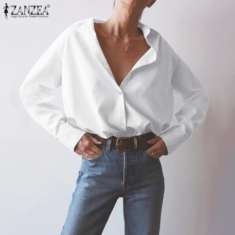 ZANZEA Elegant Lady Work White Shirts Women Blouse 2020 Fashion Tops Blusas Buttons Down Solid Tunic Chemiser Mujer Plus Size