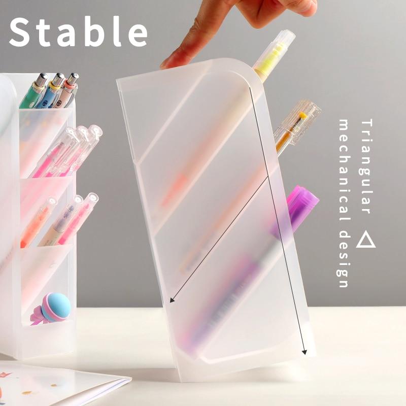 Multifunctional Transparent Storage Box Pen Holder Office Oblique Pen Holder Student Desktop Decorative Pen Holder Art Supplies
