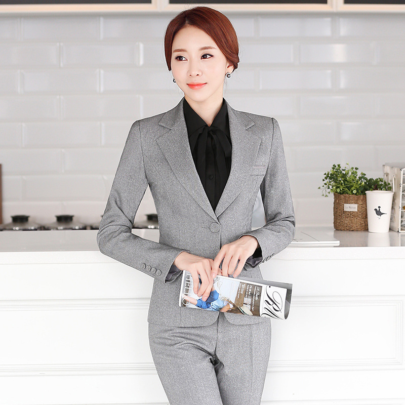Business Interview Women Black Gray Pants Suits Plus Size Pantsuit Work Office Ladies Long Sleeve Formal Blazer And Pants Set