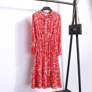 Image 5 - 여자 가을 꽃 인쇄 미디 롱 드레스 우아한 사무실 레이디 Chiffion 드레스 여성 드레스 Vestidos