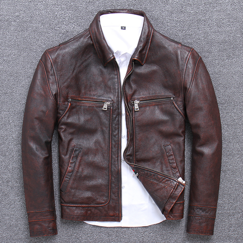 Sand Wash Cowhide Clothing Male Lapel Genuine Leather Jacket Business Affairs Leisure Time Short Fund 456xl2020 Real