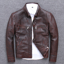 Sand Wash Cowhide Clothing Male Lapel Genuine Leather Jacket Business Affairs Le