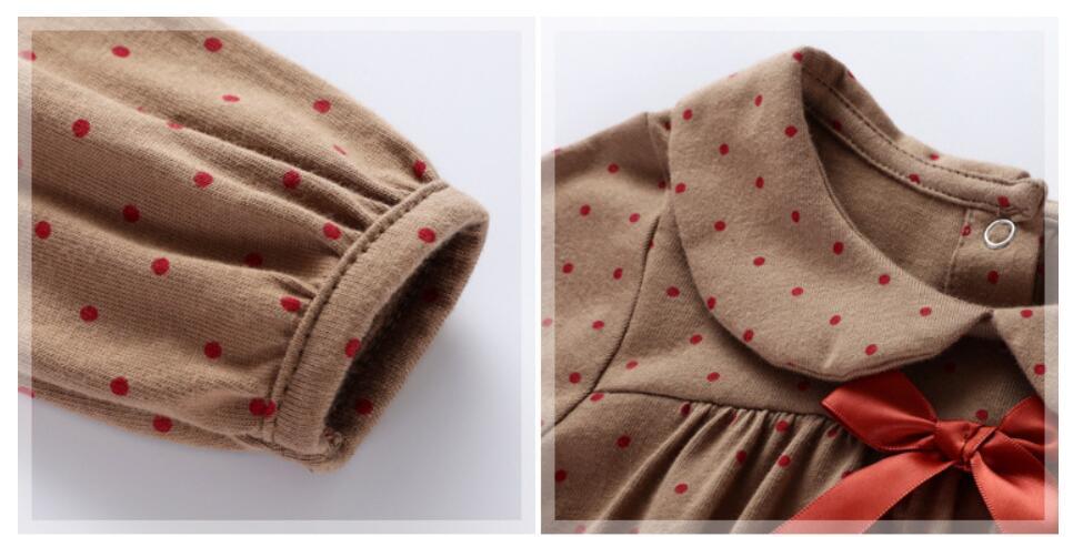 Little maven kids girls fashion brand autumn children's dress baby girls clothes Cotton dot print toddler Ribbon dresses S0510 4