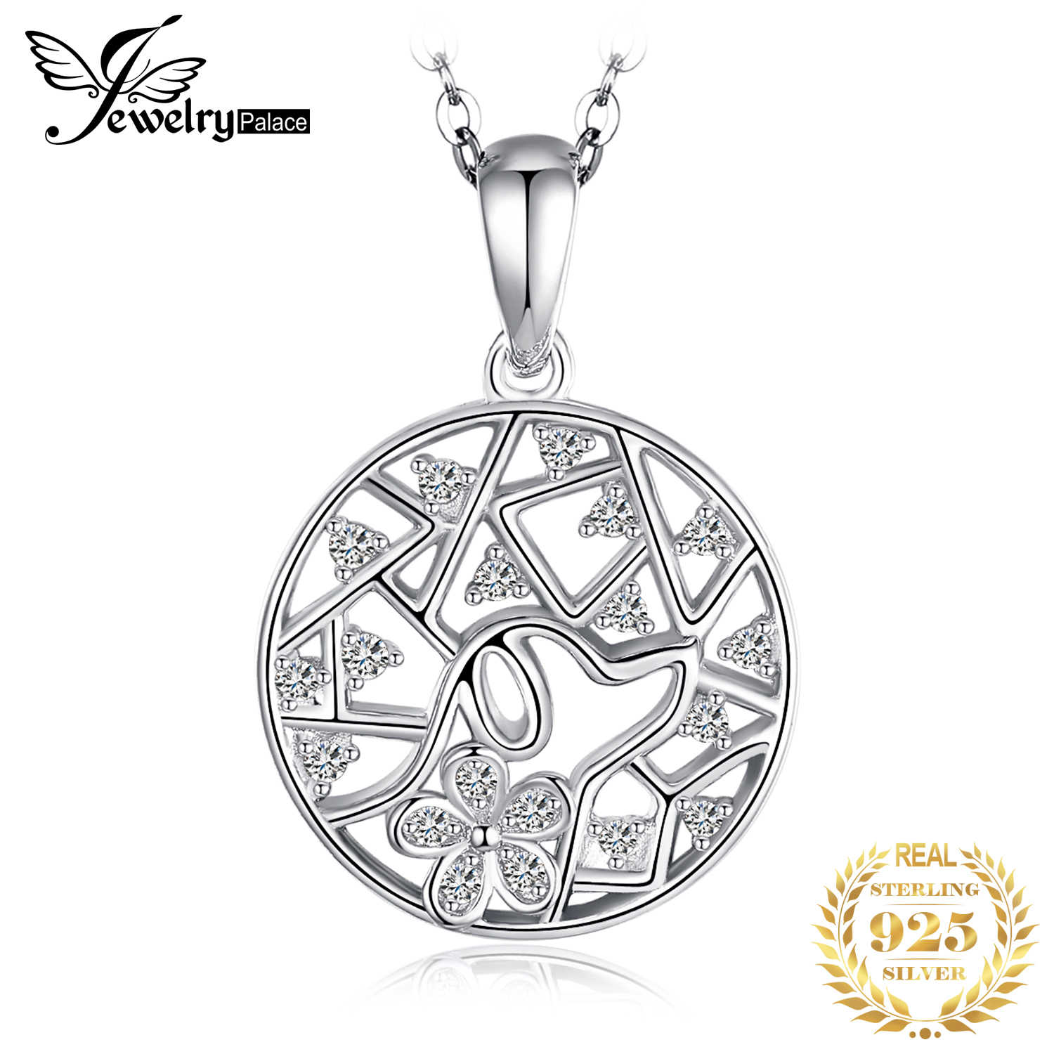 JPalace Leaf 925 Silver Pendant Necklace 925 Sterling Silver Choker Statement Necklace Women Silver 925 Jewelry Without Chain