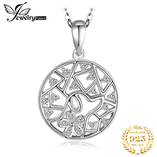 JewelryPalace 925 Sterling Silver Pendants Necklace Lovely Leaf 0.3ct Round Cubic Zirconia Pendant Real  Jewelry Without Chain jewelrypalace authentic 925 sterling silver pendants necklace crown wings honey bee pendant without chain cubic zirconia jewelry