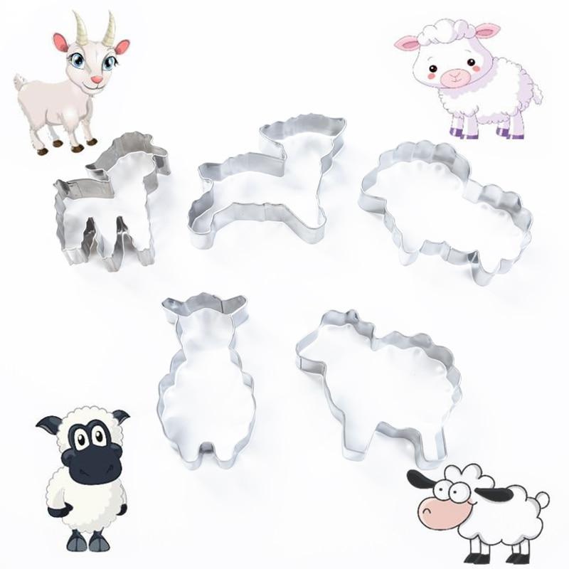 5 шт./компл. резак для печенья из нержавеющей стали, мультяшная форма овцы, инструменты для выпечки, для выпечки сахарного ремесла