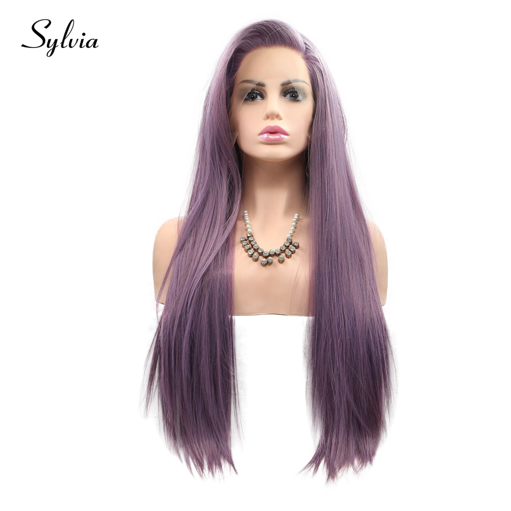 Sylvia Purple Synthetic Lace Front Wigs Long Silky Straight Side Part Heat Resistant Fiber Hair For Women