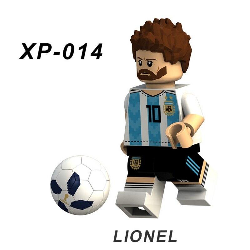 Single Lionel Messi Football Team Player Figures Neymar Beckham Building Blocks Figure Bricks Toy Kids Compatible  Toys
