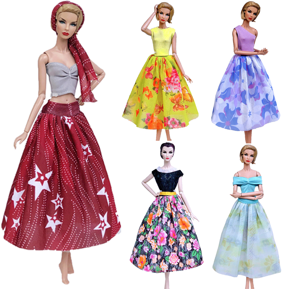 NKMix Style  Newest Doll Dress Handmade Clothes Top Fashion  Dress For Barbie Noble Doll  Skirt Accessories  Girls' Gift Toys JJ