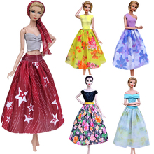 цена NKMix Style  Newest Doll Dress Handmade Clothes Top Fashion  Dress For Barbie Noble Doll  Skirt Accessories  Girls' Gift Toys JJ онлайн в 2017 году