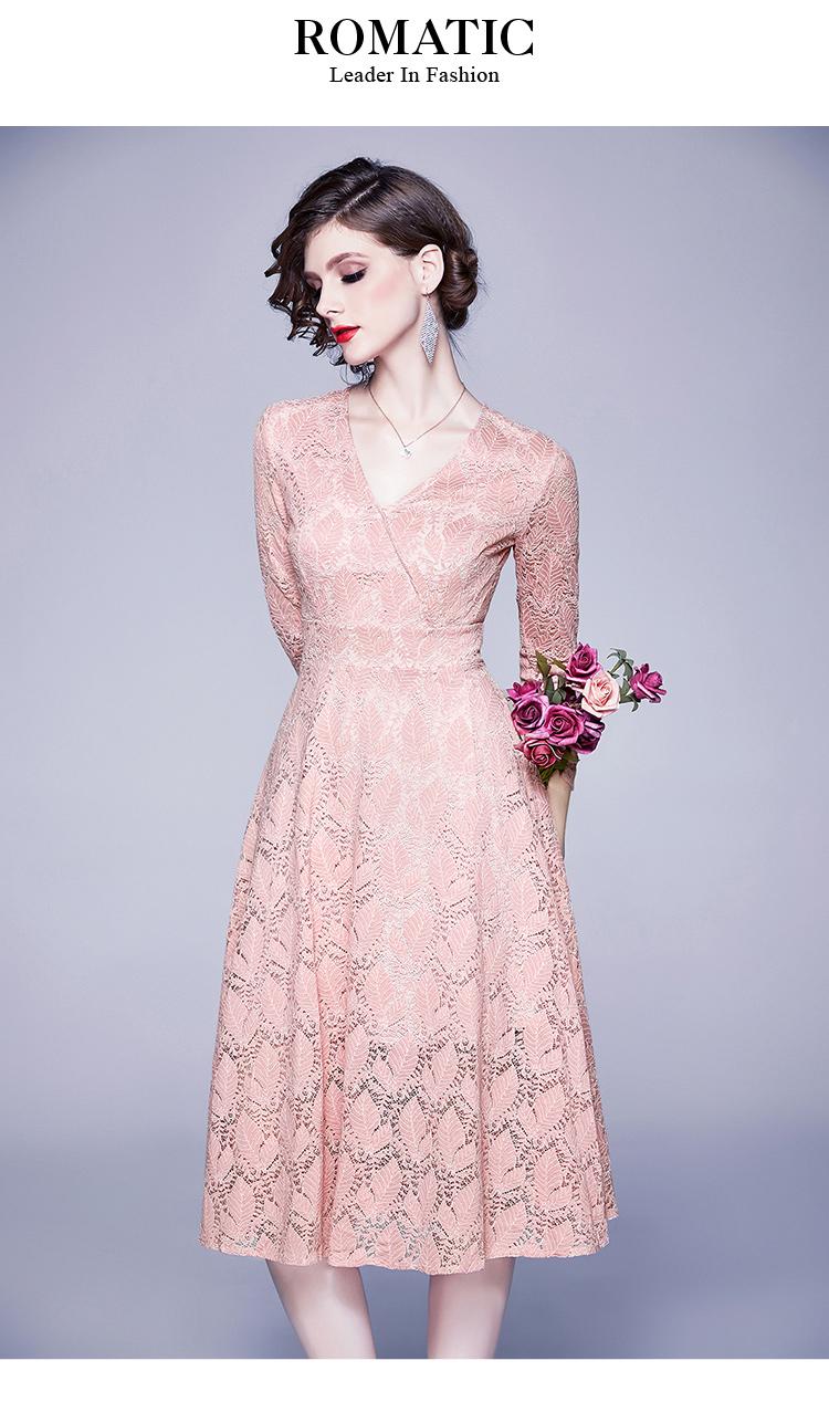 US $15.15 15% OFFNew Elegant Women Office Pink Lace Dress Vestidos Casual  Mujer 15 Robe Vintage Skater Dress Damen Kleider Oversized