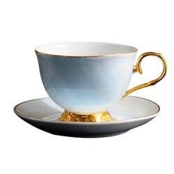 الرخام بنوم بنه السيراميك القهوة الفناجين وأطباقها مجموعة بعد الظهر فنجان شاي عشاق الهدايا (الأزرق)