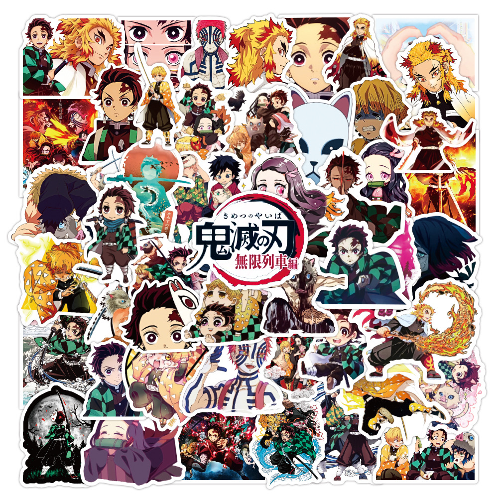 50Pcs Demon Slayer Kimetsu No Yaiba Anime Stickers Decals Skateboard Sticker For Laptop Motorcycle Luggage Kids Gift Toy Sticker