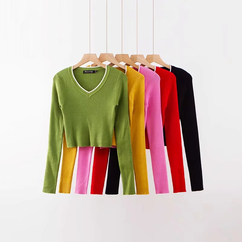 Women's Knitted Ribbed V-Neck Sweater Blouse Long Sleeve Pullover Blouses Woman 2019 Spring Fashion Sweaters Female