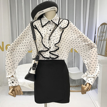 Print Chiffon Blouse Office Lady Ruffles Turn-down Collar See Through Ladies Tops 2019 Korean Fashion Clothing Shirts