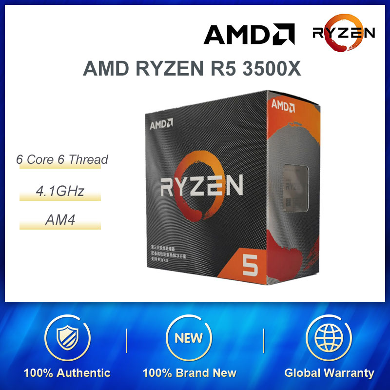 AMD RYZEN R5 3500X CPU Processor 6 Core 6 Thread With Radiator Game Powerful Performance MAXIMUN Frequency 4.1GHz