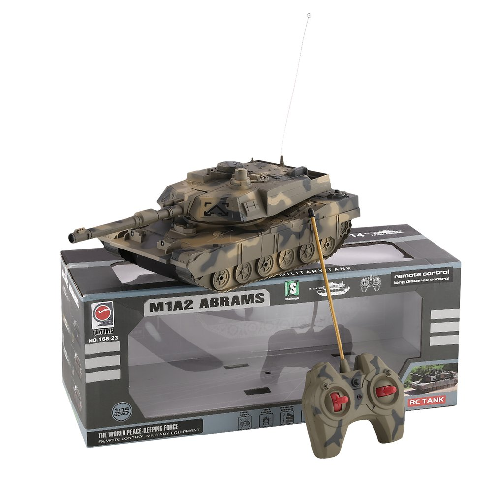 1:14 4CH Simulation RC Military Tank Turret Rotation Light & Music Remote Control Model Long Distance Control Kids Toy Gift