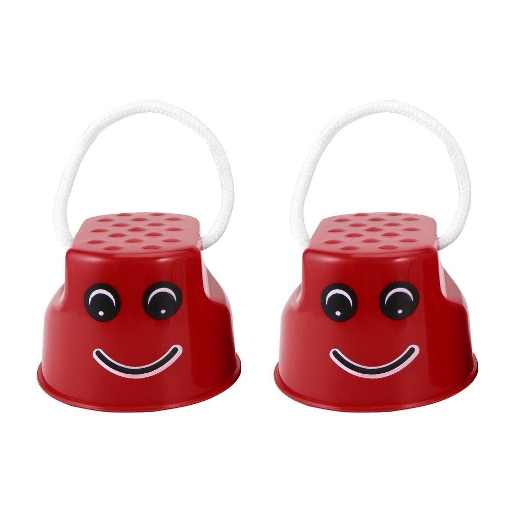 OCDAY 1pcs 7 Colors Walk Stilt Jump Toy Plastic Smile Face Pattern Children Outdoor Fun Sports Balance Training Toy Best Gift