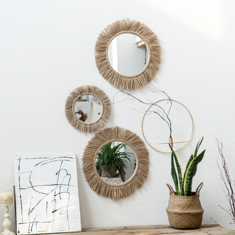 Woven Hemp Rope Mirror Nordic RETRO Art Circular Mirror Handmade Homestay Living Room Decoration Coffee Shop Boho Decor