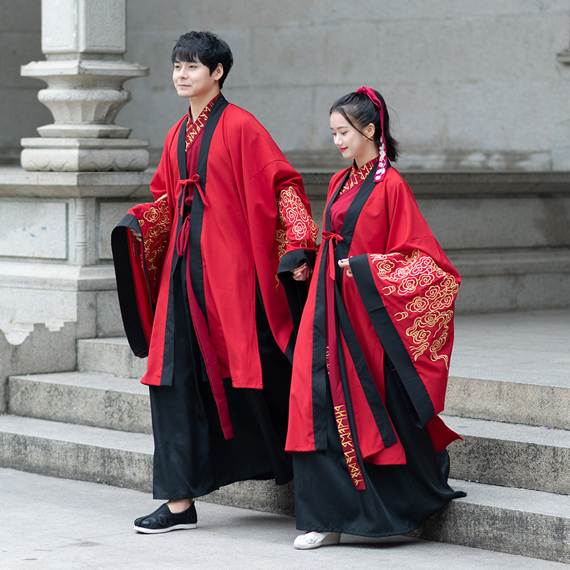 Red Classical Dance Costume Folk Neutral Hanfu Festival Outfit Singer Stage Wear Rave Performance Clothes Fairy Dress DF1472