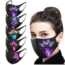 Masque buccal imprimé papillon pour adultes, Protection lavable à boucles auriculaires, 1 pièce