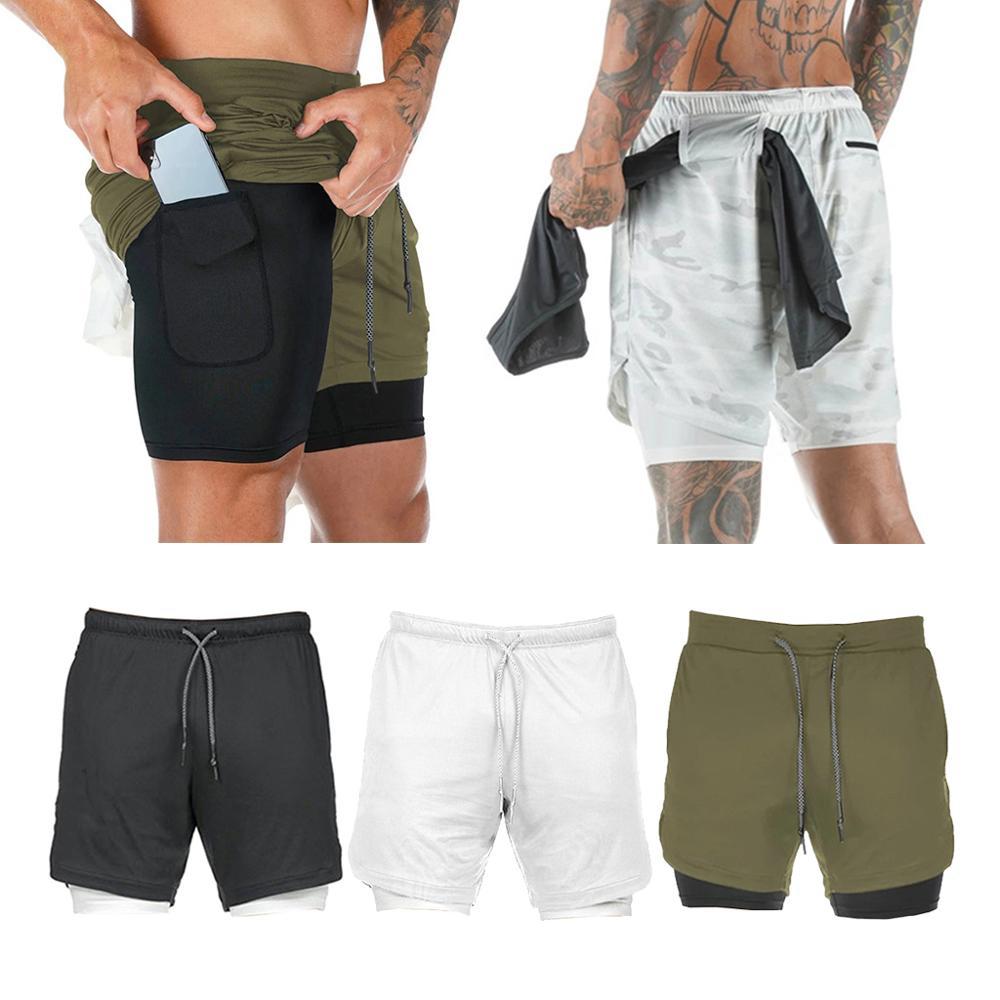 Summer Running Shorts Men 2 in 1 Sports Cycling Fitness Shorts Training Quick Dry Mens Gym Shorts Men Sport gym Half Pants 2020
