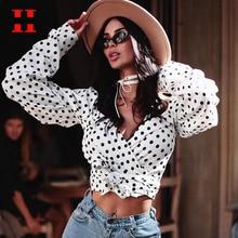 Polka Dots Short Blouse Women Sexy Deep V-neck Crop Tops Women Long Sleeve Bow Bandage Blouses Summer Streetwear Top ropa mujer