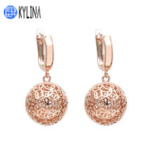 KYLINA Europe America Hollowed Sphere 585 Rose Gold Ball Dangle Earrings Personality Vintage Jewelry For Women Jewelry Gift(China)