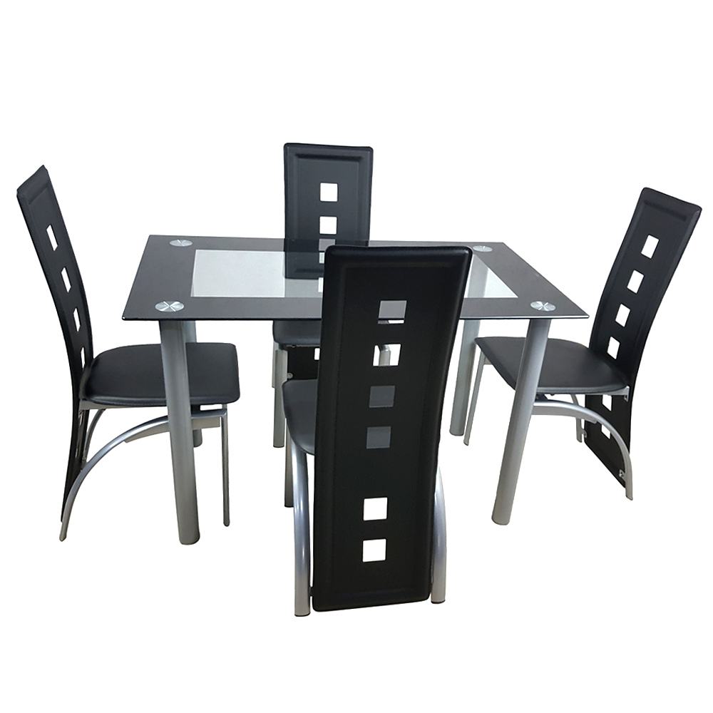 Minimalist Morden Style 110cm Dining Table Set Tempered Glass Dining Table With 4pcs Chairs Transparent & Black